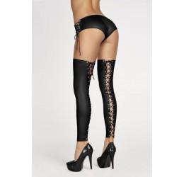 Sexy Calze autoreggenti nere lucide senza piede 7heaven