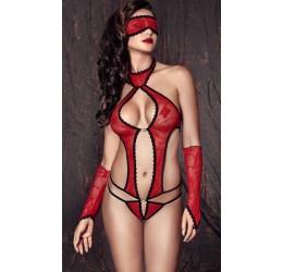 Sexy Body rosso in pizzo con maschera e guanti 'Ashley'