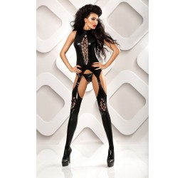 Sexy Bodystocking nera lucida e perizoma 'Horny' Lolitta Lingerie