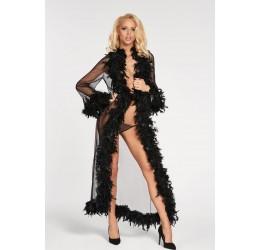 Sexy Vestaglia nera con piume e perizoma 'Berisso'  7heaven