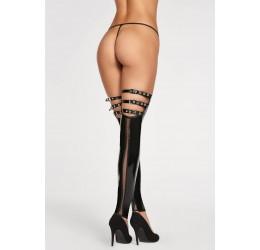 Sexy calze nere lucide senza piede con fibbie regolabili 7heaven