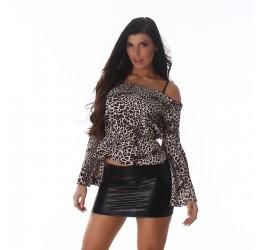 Sexy blusa leopardata con spalle scoperte