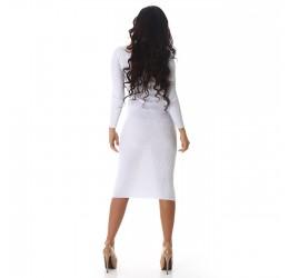 Sexy abito lungo bianco glitter in tessuto a costine