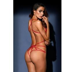 Sexy Body in pizzo ricamato rosso/argento glitter