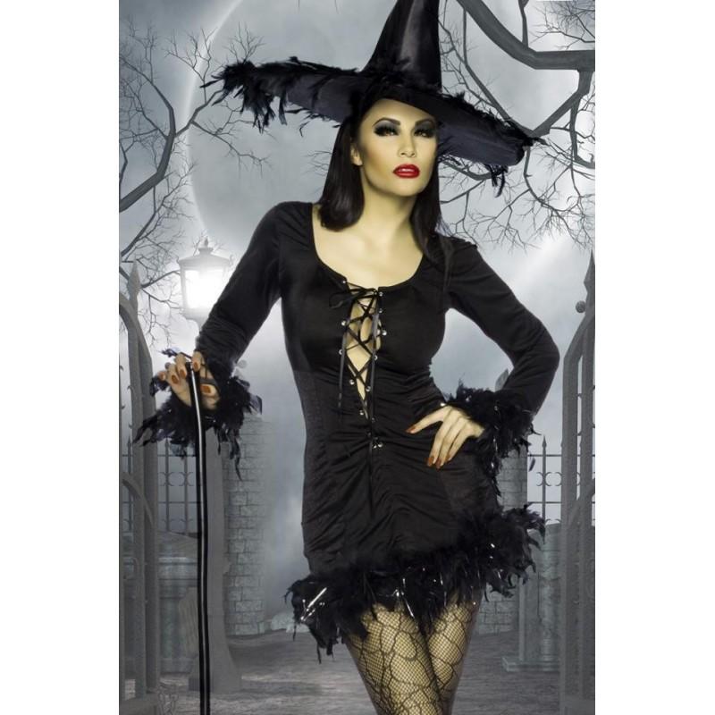 Sexy Costume nero da strega con cappello, taglia unica
