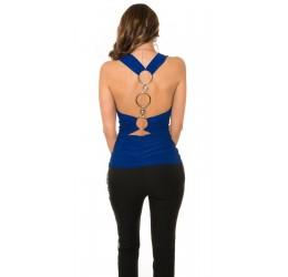 Sexy Top blu decorato con anelli metallici e pietre, taglia unica 40/44