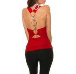 Sexy Top rosso decorato con anelli metallici e pietre, taglia unica 40/44
