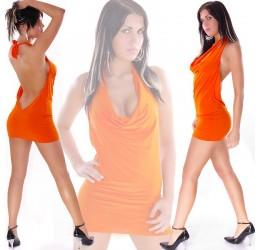 Sexy Mini Abito arancione scollatissimo tg.unica 40/44