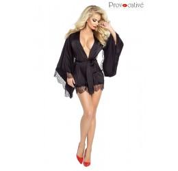 Sexy Kimono nero in raso e pizzo da Provocative, PR4860