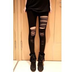 Sexy leggings neri in lycra elatica con strappi davanti