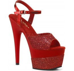 Sexy Sandali rossi glitter con plateau tacco 17 'Adore'
