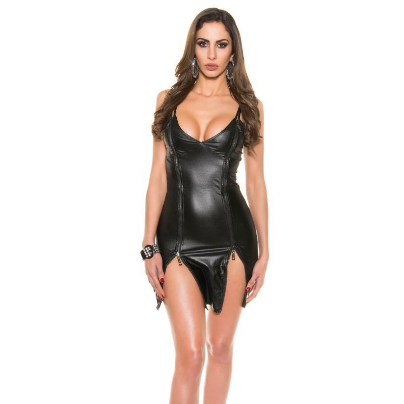 Sexy Mini abito nero lucido con zip taglia unica