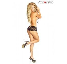 Sexy Culotte nere in pizzo con gioiello in strass PR4762 Provocative Lingerie
