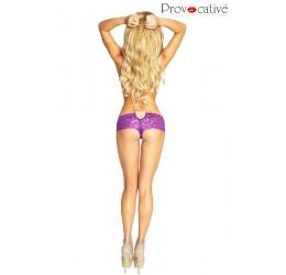 Sexy Culotte viola in pizzo con gioiello in strass PR4766 Provocative Lingerie