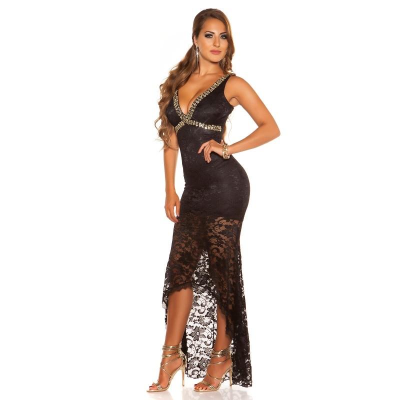nuovo prodotto becc0 755cf Sexy abito nero da sera in pizzo scollato a V | Abiti Lunghi | Rosanerastore