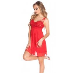 Sexy Mini Abito rosso con perline e paillettes