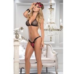 Sexy Completino nero in rete con maschera 8127 Mapalé