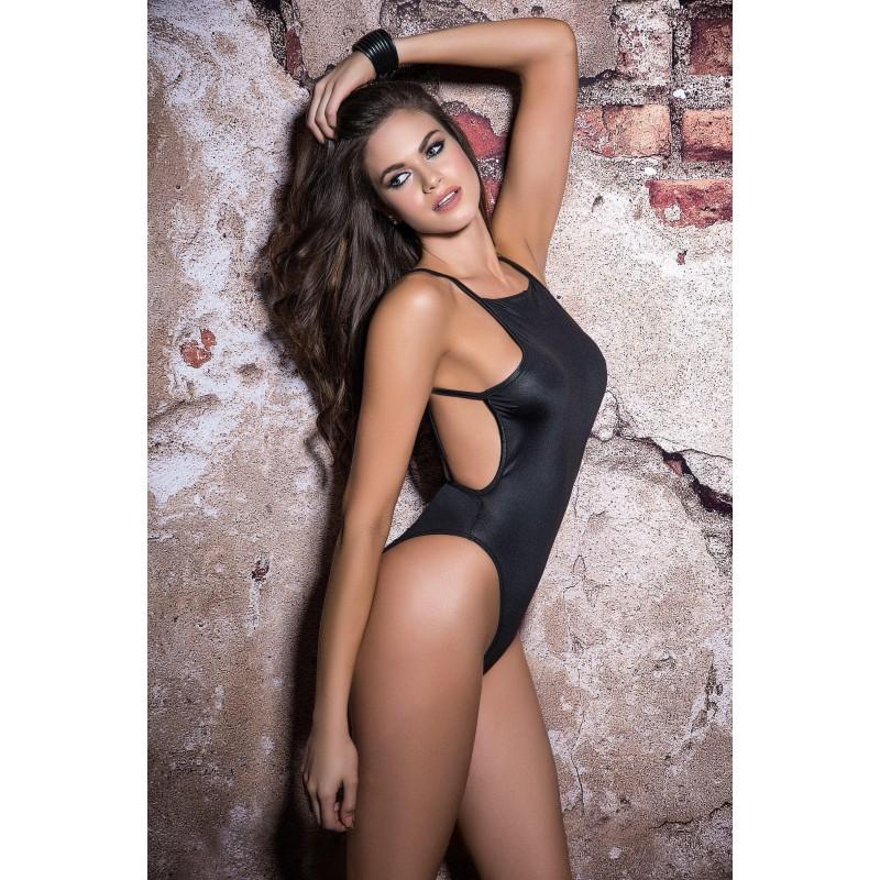 Sexy Body nero lucido con stringhe, 2515 Mapalé