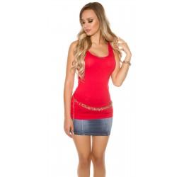 Sexy Top rosso in tessuto elastico, taglia unica 40/44