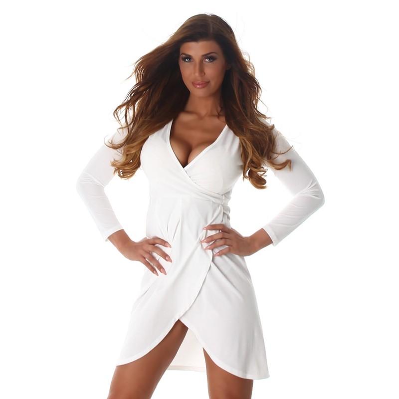 the latest db4c3 58e6c Sexy abito corto bianco scollato a V con cinturina | Mini Abiti |  Rosanerastore Size S (38/40) Color bianco