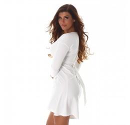 Sexy abito corto bianco scollato a V con cinturina