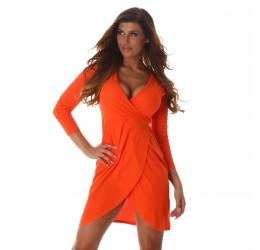 Sexy abito corto arancione scollato a V con cinturina