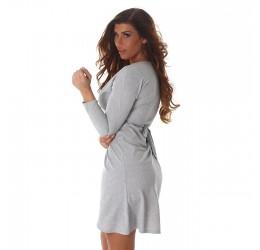 Sexy abito corto grigio scollato a V con cinturina