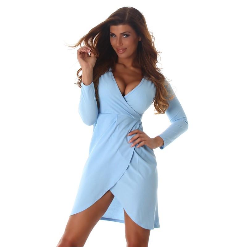 super popular cfaee 2e0fe Sexy abito corto azzurro scollato a V con cinturina | Mini Abiti |  Rosanerastore Size S (38/40) Color Azzurro