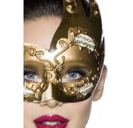 Maschera color bronzo lucido con inserti 'note musicali'