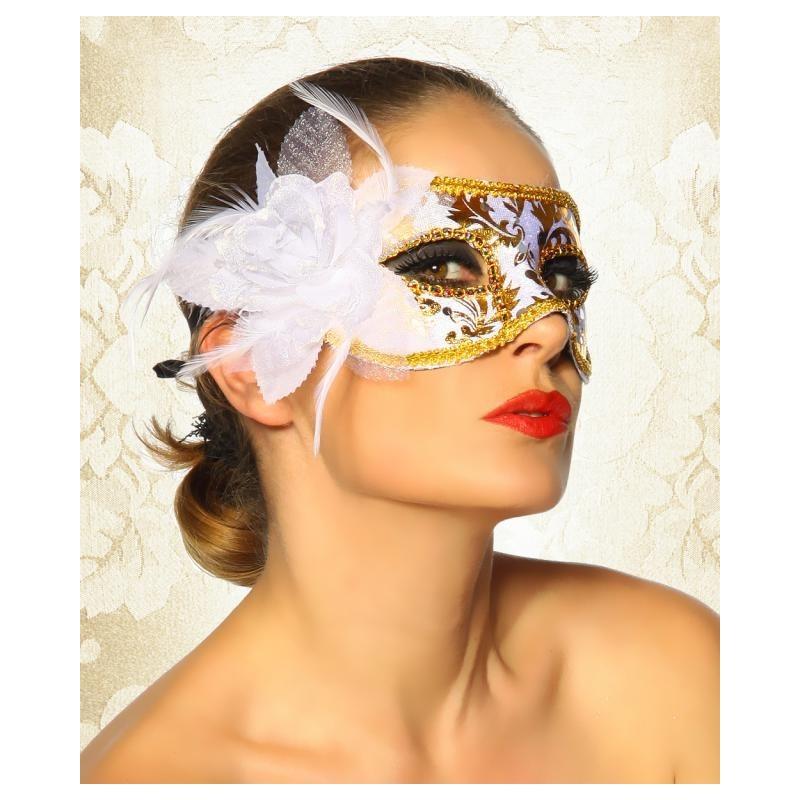 Maschera bianca/dorata con fiore in tessuto