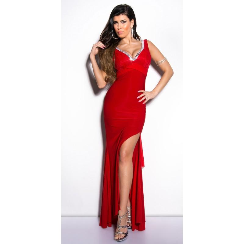 Vestiti Eleganti Lunghi Da Sera.Stupendo Abito Lungo Da Sera Rosso Con Strass E Fiocco Abiti