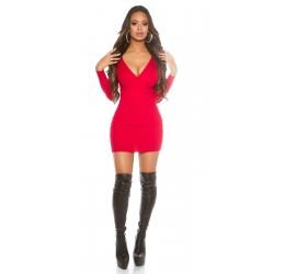 Mini abito rosso scollato a...