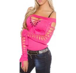 Sexy maglietta rosa con stringature