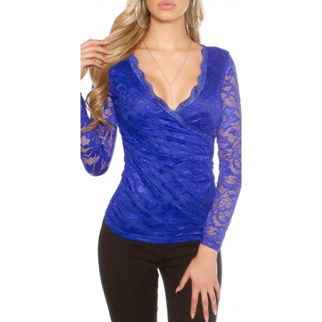 Maglietta blu in pizzo