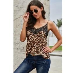 Top leopardato con inserto...