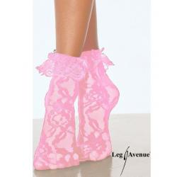 Calzini corti in pizzo rosa