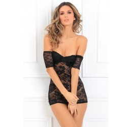 Sexy Chemise nera in pizzo