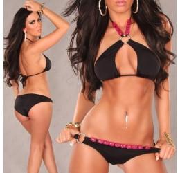 Sexy Bikini costume da bagno donna 2 pezzi nero e rosa