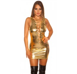 sexy mini abito color oro