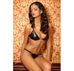 Sexy completino nero lucido con catenelle 'Laila' da Mia Doux