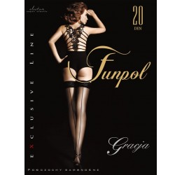 Sexy autoreggenti nere con riga posteriore 20 denari 'Funpol'