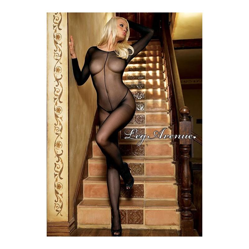Sexy Catsuit nera velata con manica lunga la8297 Leg Avenue