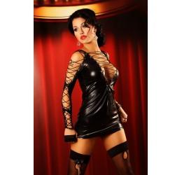'Diva dress' Abito nero stringato in tessuto lucido