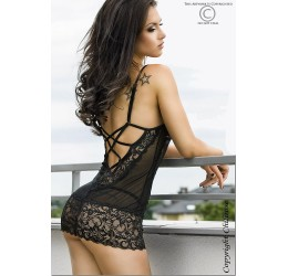 Baby doll nero in pizzo e tulle Tanga incluso Chilirose