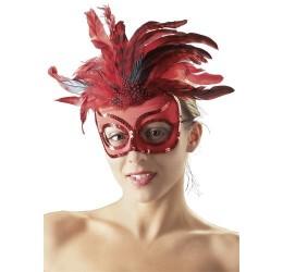 Sexy maschera rossa con piume e pailettes