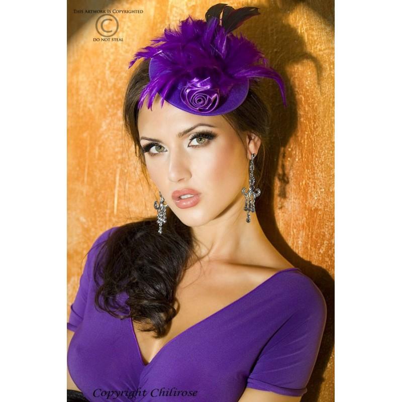 Cappellino viola con rosa e piume CR-3261