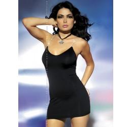Mini abito con strass e perizoma 'Oxalis' nero da Obsessive
