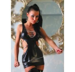 Sexy fetish mini abito nero lucido con catenelle e tanga
