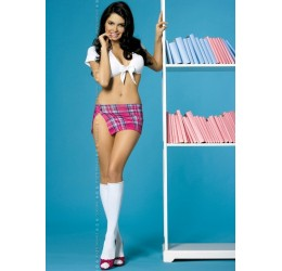 'Juicy school girl' Completo 4 pezzi in lycra e plaid Obsessive Lingerie
