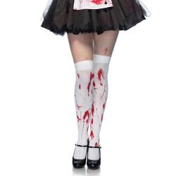 Calze Parigine Bianche opache 'Bloody Zombie' Halloween